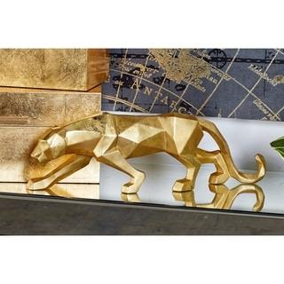 "Large Modern Style Metallic Gold Leopard Statue Table Decor 18"" x 6"""