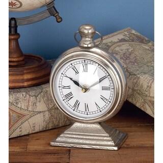 Copper Grove Chatfield Silvertone/White Alumnium 9-inch x 5-inch Table Clock