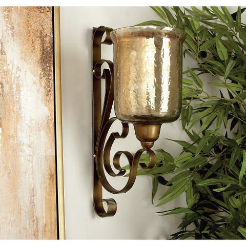 Copper Grove Fossli Bronze Metal and Glass Wall Candle Sconce