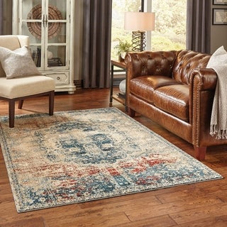 "Copper Grove Fontainebleau Gold/Blue Polypropylene Area Rug - 3'10"" x 5'5"""