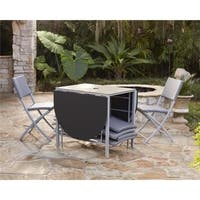 Havenside Home Roseland Outdoor Living Transitional 7-piece Delray Steel Woven Wicker Compact Folding Patio Dining Set