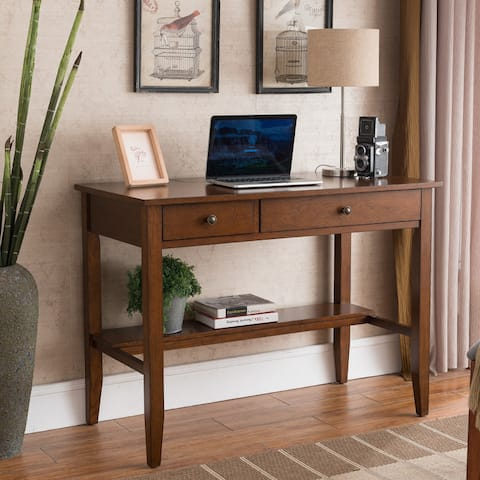 Copper Grove Matthiola Sutton Writing Desk with Charging Station in Espresso