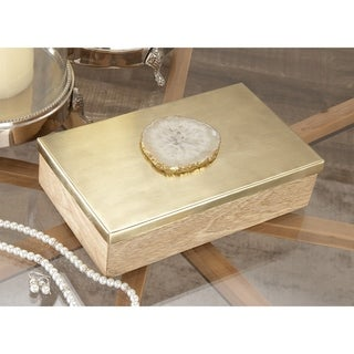 The Curated Nomad Chatfield Decorative Gold-finish Agate Accent Box