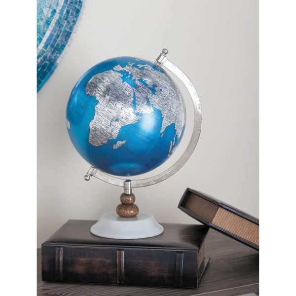 The Curated Nomad Hernando Blue Metal PVC Wood Marble Globe