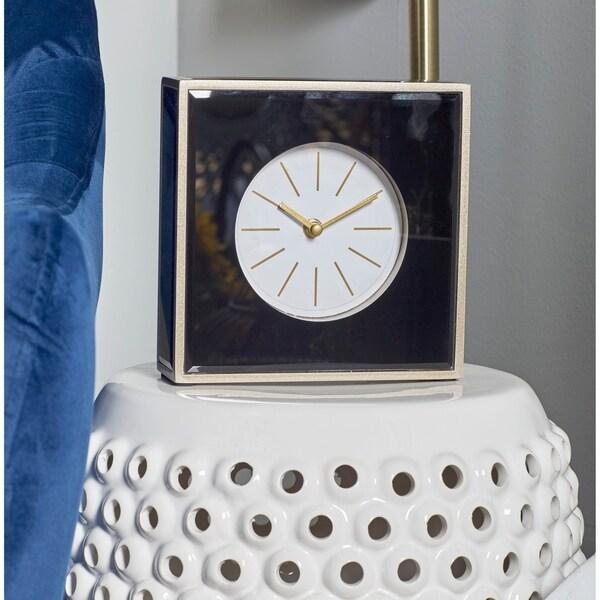 Strick & Bolton John Modern Wood and Glass Square Black Table Clock