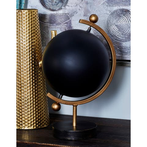 Carson Carrington Give Contemporary Iron Black Globe (16 x 8 inch)