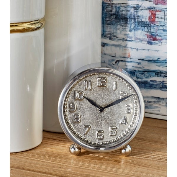 Porch & Den Waccamaw 6 inch Silver Stainless Steel Table Clock