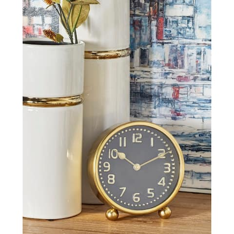 Porch & Den Waccamaw Modern Gold Stainless Steel Round Table Clocks (Set of 2)