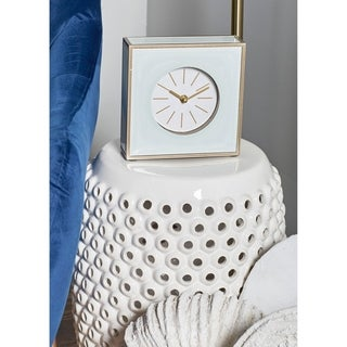 Strick & Bolton John Modern Wood and Glass Square White Table Clock