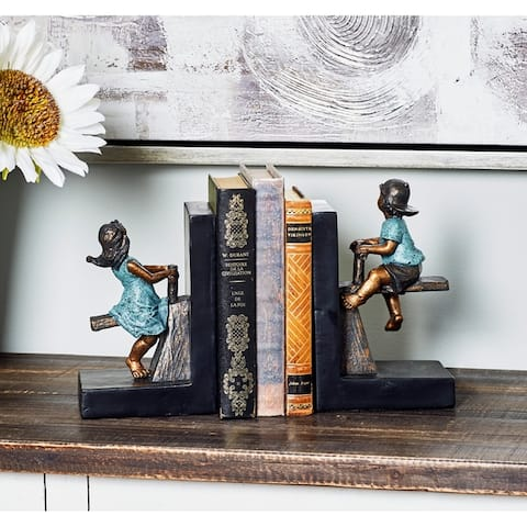 Copper Grove Larkins Pair of Modern Polystone Playing Boy and Girl Bookends