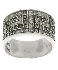 Icz Stonez Sterling Silver Greek Key Marcasite CZ Ring