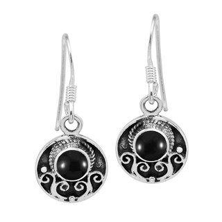 Handmade Dainty Vintage Style Circle Inlaid Sterling Silver Dangle Earrings (Thailand)