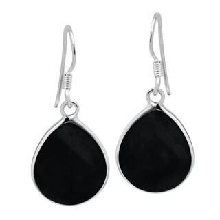 Handmade Chunky Teardrop Inlay Sterling Silver Dangle Earrings (Thailand)