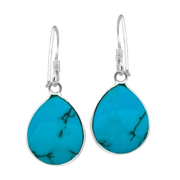 Natural real turquoise Chunky turquoise earrings Sterling silver. Blue//green