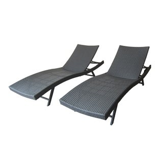 Kauai Outdoor Wicker Chaise Lounge (Set of 2) by Christopher Knight Home
