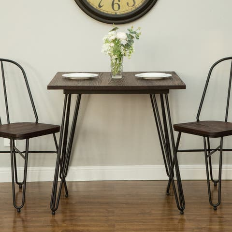 Glitzhome Farmhouse Steel Dining Table with Elm Wood Top