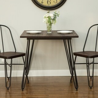 Glitzhome Metal Home Dining Table with Elm Wood Top Indoor Industrial Style - Brown