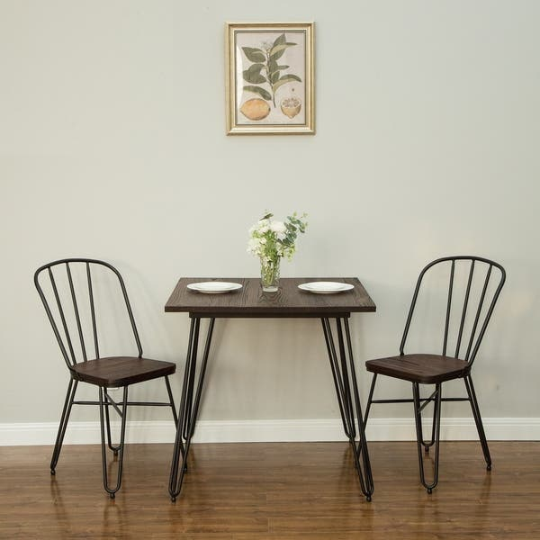 Shop Glitzhome Farmhouse Steel Elm Wood Dining Set, 1 Table ...