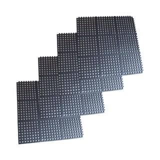 Offex 3 x 3 Foot Interlocking Rubber Mats - 4 Pack