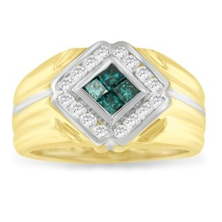 14K Two Toned 1/2ct. TDW Round and Treated Blue Princess-cut Diamond Ring (I-J,I2-I3)