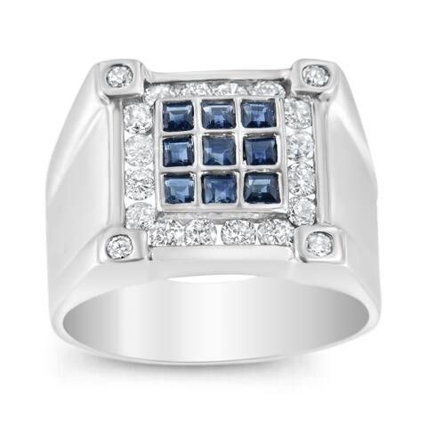 Men's 14K White Gold 1ct TDW Diamond and Lab Created Blue Sapphire Gemstone Classic Band Ring (H-I, I1-I2)