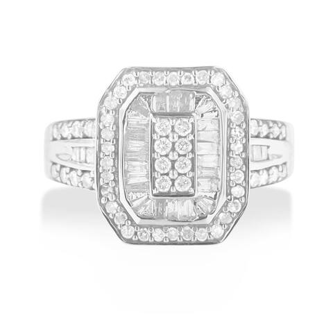 Sterling Silver 0.75ct TDW Round and Baguette Diamond Cathedral Ring (H-I, I2)