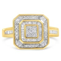 10K Yellow Gold 0.5ct TDW Round and Baguette cut Diamond Cluster Ring (I-J,I1-I2)