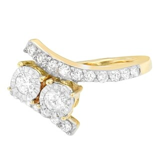 14k Yellow Gold 1ct TDW Diamond Two-Stone Ring (H-I,I1-I2) (5 options available)