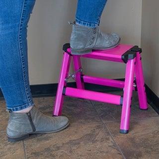 AmeriHome Lightweight Single Step Aluminum Step Stool Neon Pink