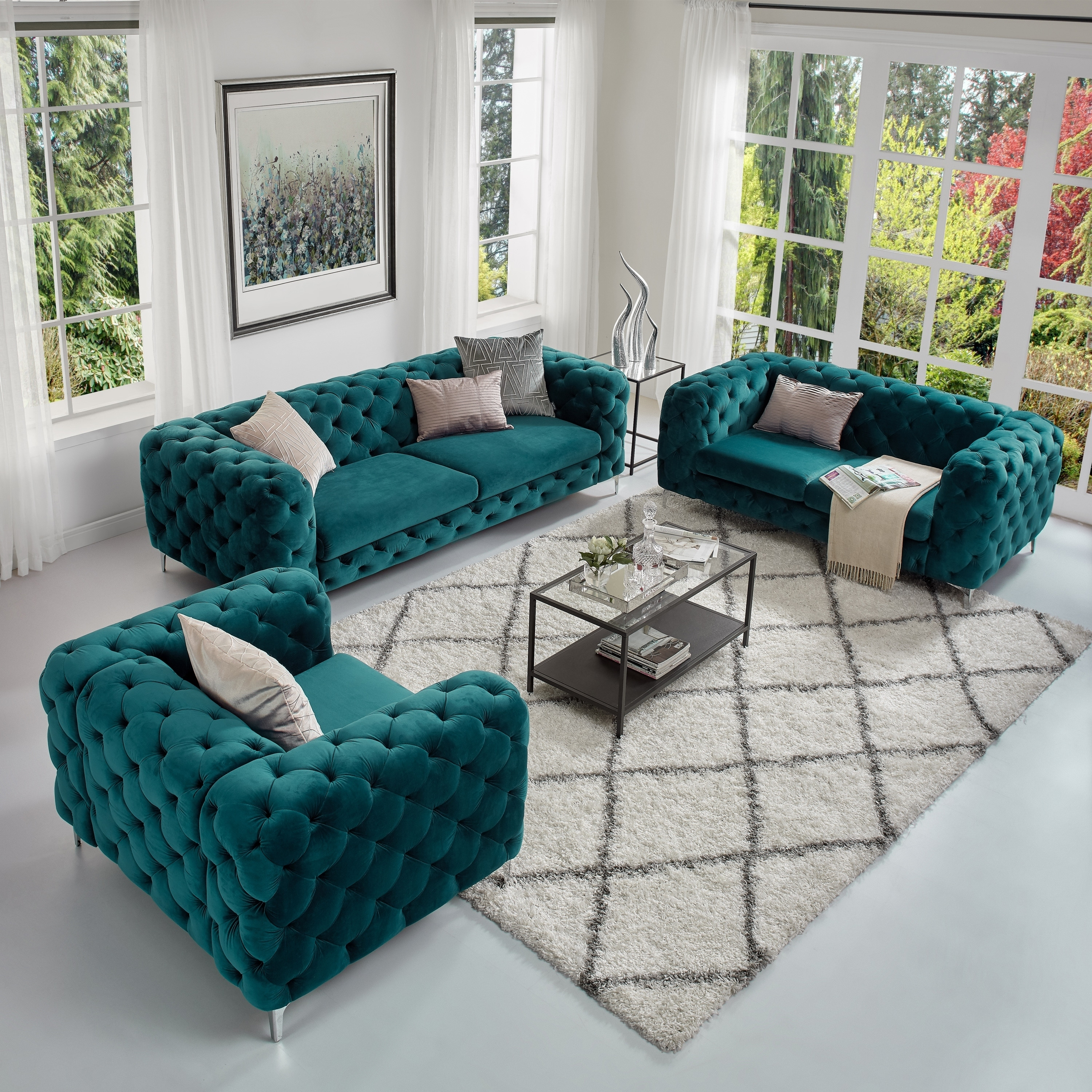 Corvus Aosta Tufted Velvet Loveseat
