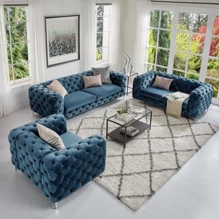 Corvus Aosta Tufted Velvet Loveseat and Sofa Living Room Chesterfield Set