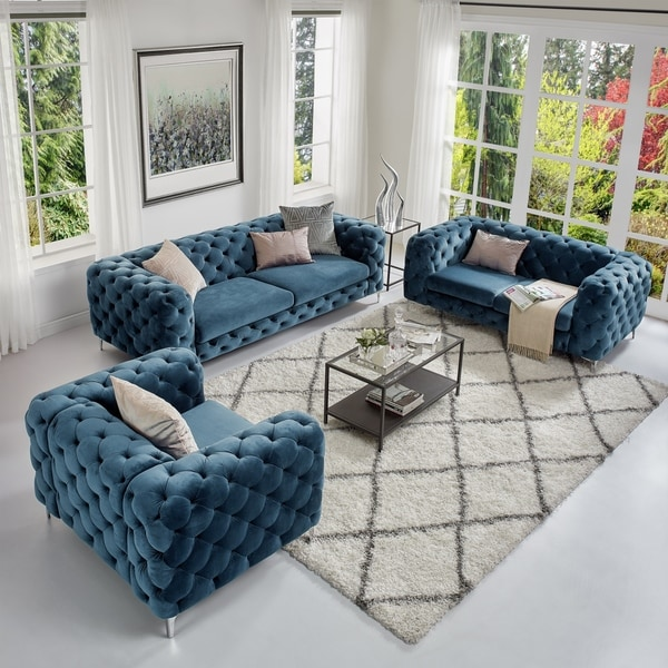 Corvus Aosta Tufted Velvet Loveseat and Sofa Living Room Chesterfield Set