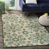 LR Home Hand Tufted Lavish Modern Suzani Beige Wool Rug - 5' x 7'9