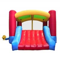ALEKO Inflatable Bounce House with Curved Slide and Blower
