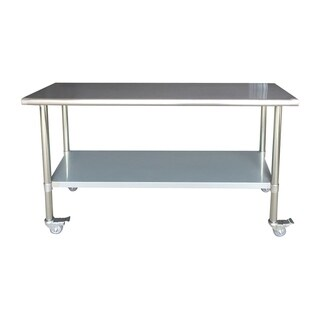 "Sportsman Series Stainless Steel Work Table with Casters 24"" x 72"""