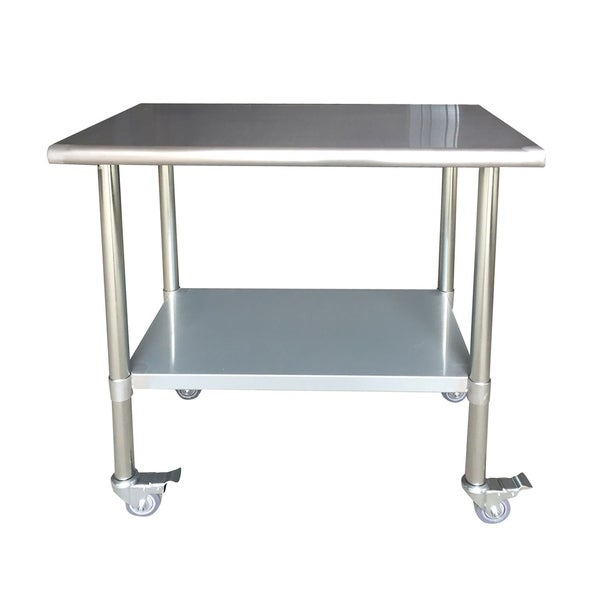 Offex Series Stainless Steel Work Table With Casters X - Stainless steel work table with wheels