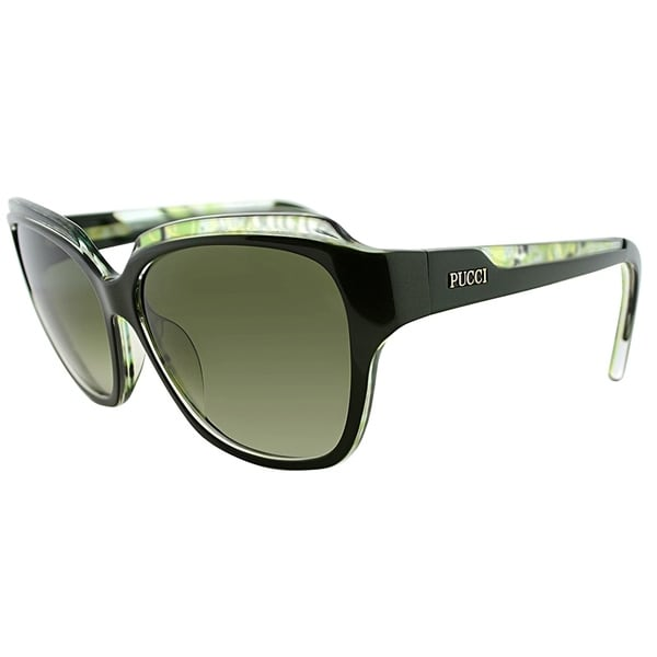 Emilio Pucci Rectangle EP 686S 303 Women Dark Green Frame Green Gradient Lens Sunglasses
