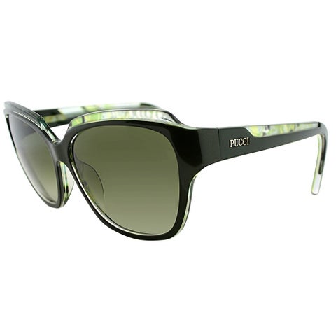 Emilio Pucci Rectangle EP 686S 303 Women Dark Green Frame Green Gradient Lens Sunglasses
