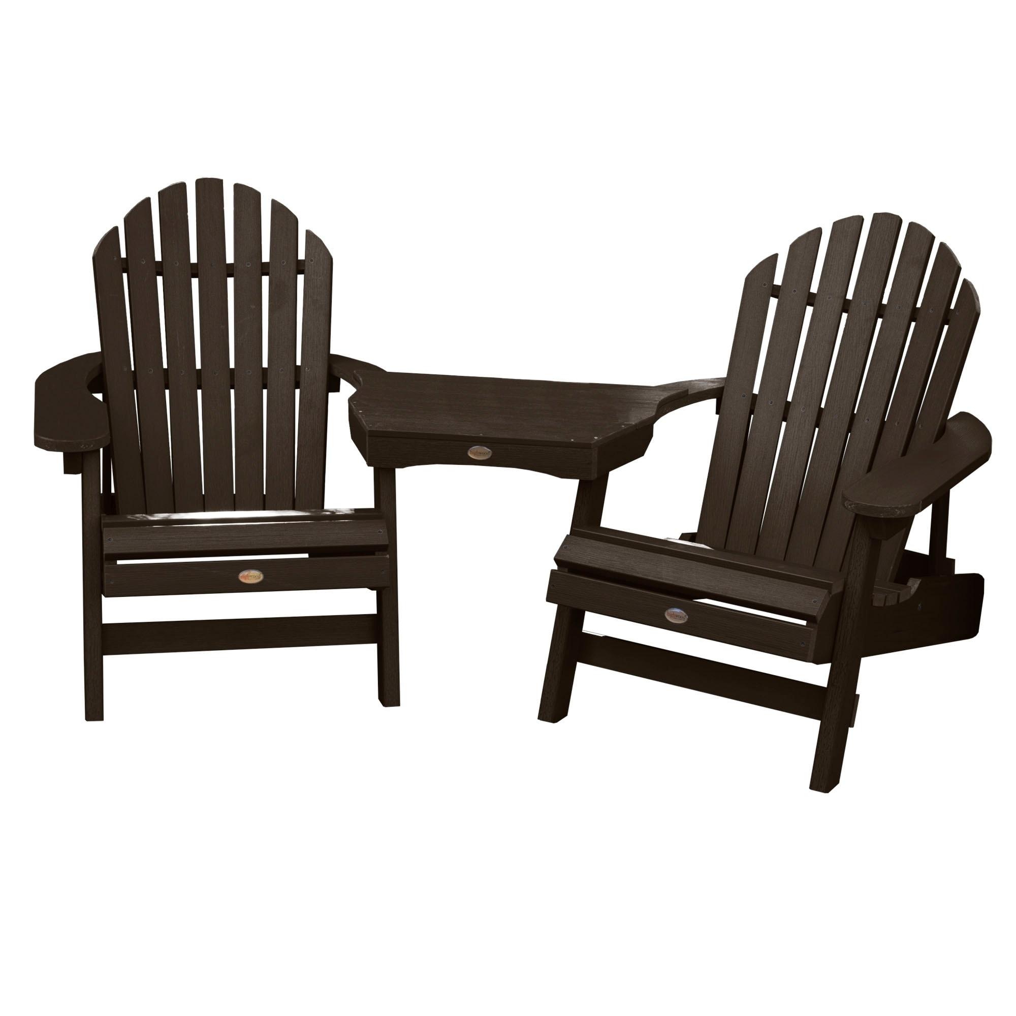 2 Hamilton Folding/Reclining Adirondack Chairs, 1 Tete A Tete Table