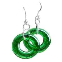 Handmade Recycled Vintage Emerald Beer Bottle Glass Hoop Earrings (United States)