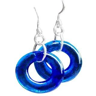 Handmade Recycled Vintage 1960's Noxzema Jar Glass Hoop Earrings (United States)