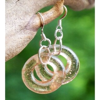 Handmade Recycled Antique Pink Depression Glass Hoop Earrings (United States)