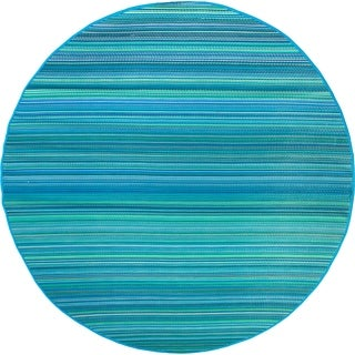 Handmade Cancun Turquoise and Moss Green Plastic Rug - 8' Round (India)