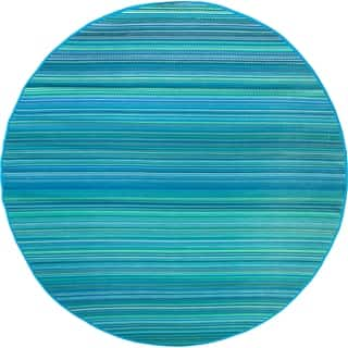 Fab Habitat Plastic Rug - Cancun - Turquoise & Moss Green (8' Round) - 8' Round