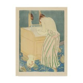 Mary Stevenson Cassatt 'Woman Bathing' Canvas Art - Multi-color