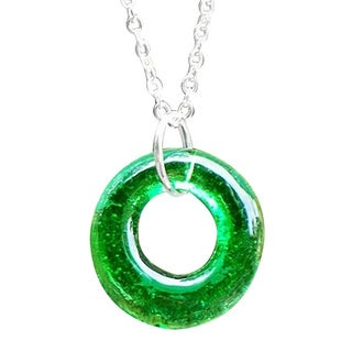 Handmade Recycled Vintage Green Beer Bottle Glass Hoop Necklace (United States)