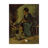 Vincent Van Gogh 'Peasant Woman Cooking By A Fireplace' Canvas Art - Multi-color