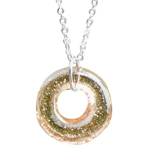 Recycled Antique Pink Depression Glass Hoop Necklace