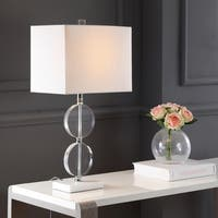 "Richard 26"" Crystal/Marble LED Table Lamp, Clear/White"