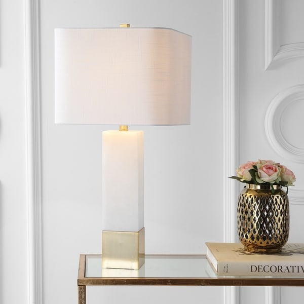 "Jeffrey 29"" Metal/Marble LED Table Lamp, Brass Gold/White"